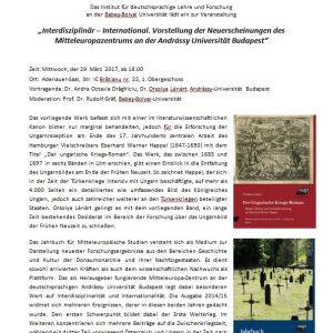 Interdisziplinär – International. Vorstellung der Neuerscheinungen des Mitteleuropazentrums an der Andrássy Universität Budapest