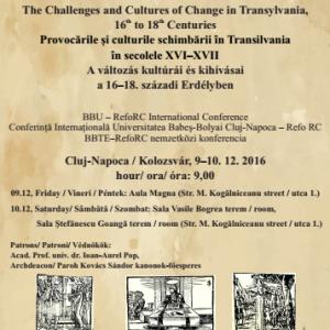 A változás kultúrái és kihívásai a 16–18. századi Erdélyben - nemzetközi konferencia