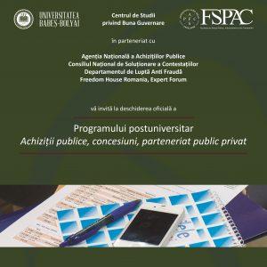 Programul postuniversitar în Achiziții Publice, Concesiuni, Parteneriat Public Privat – lansat la FSPAC