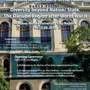 """UBB organizează Școala de vară pentru doctoranzi  """"Diversity beyond Nation/State. The Danube Region after World War II"""""""