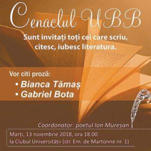 Cenaclul UBB deschide un nou șir de întâlniri