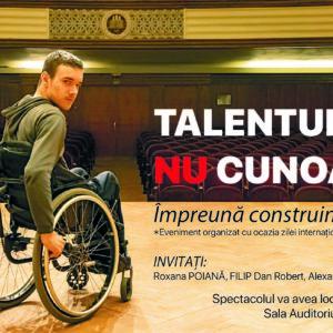 """,,Talentul nu cunoaște limite!"""", un spectacol organizat de UBB cu ocazia Zilei Internaționale a Persoanelor cu Dizabilități"""